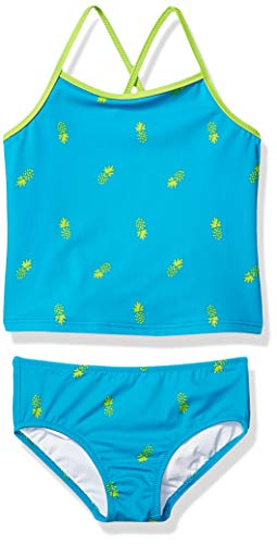 Amazon Essentials Toddler Girl's 2-Piece Tankini Set, Aqua Pineapples, 3T