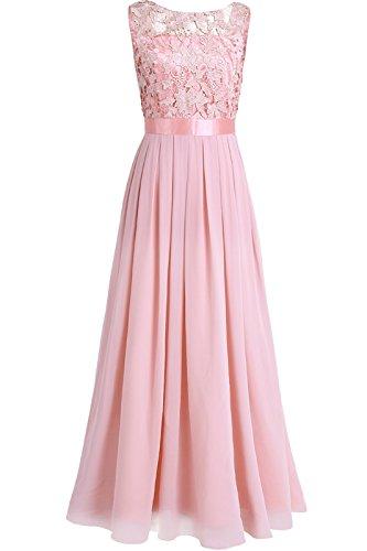 iEFiEL Damen Kleid Festliche Kleider Brautjungfer Hochzeit Cocktailkleid Chiffon Faltenrock Elegant Langes Abendkleid Partykleid Perle Rosa 34