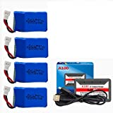 3.7V 600mAh Lithium Battery for Syma X9 Flying Quadcopter Car Remote Control Car and Drone 4 Pack with HOT RC A100 6 in 1 Charger