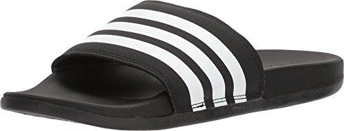 adidas Women's Adilette Comfort Slide Sandal, Black/White/Black, 7
