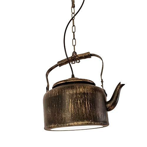 Vintage Kettle Chandelier Industrial Wind Bar Restaurant cadena colgante luz colgante E27 Hierro forjado Single Head Accesorios de iluminación decorativos, lámpara de techo creativa