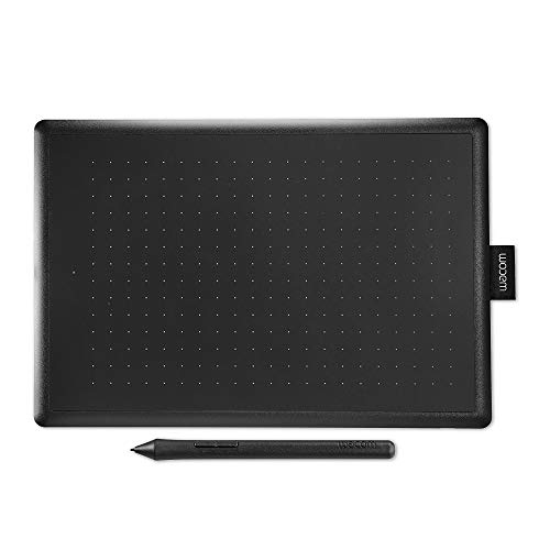 Wacom 'One by Wacom' Medium - Tableta gráfica con lápiz digital sensible a la presión, Compatible con Windows y Mac, Color negro y rojo
