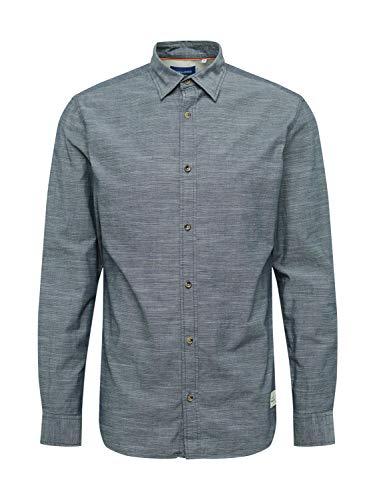 Jack & Jones Jortons Melange Shirt LS Camisa, Azul Marino, M para Hombre