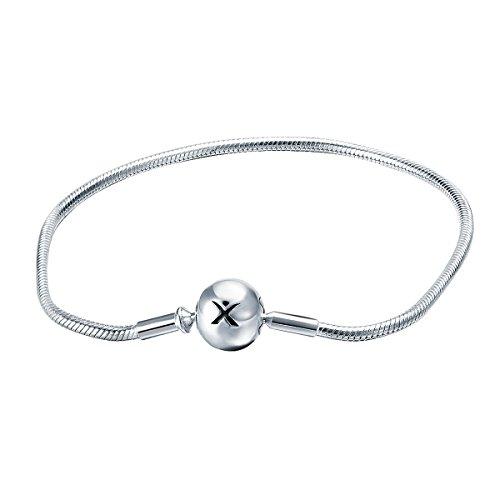 Changeable 925 Sterling Silver Women Charms Fine Snake Bracelet 17CM