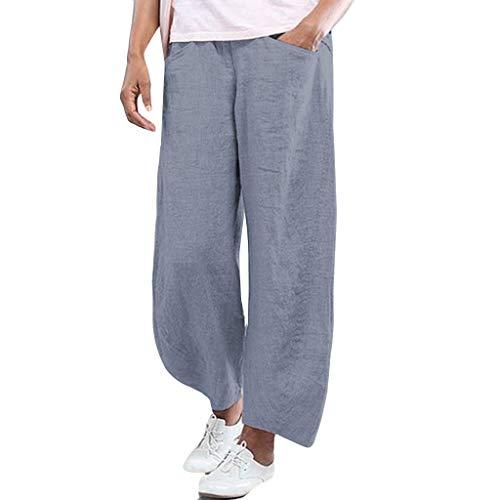 Lazzboy Frauen Plus Size Print Lose Beiläufige Elastische Taille Cropped Baggy Hosen Leichte Haremshose In Viele Muster Damen Pumphose Harem-Stil Sommerhose Einheitsgröße(Grau,M)