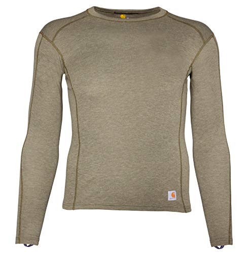 Carhartt Men's Force Heavyweight Polyester-Wool Base Layer Long Sleeve Shirt, Deep Burnt Olive Heather, Medium