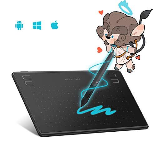 HUION la tableta gráfica HS64 es compatible con la función sensibilidad a la Stylus 8192 sin batería, sistema operativo Android 6.0 compatible