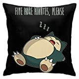 BKOGAL Throw Pillow Cover Soft Square Throw Pillow Case Home Decorative for Bed Couch Sofa Farmhouse Cushion Cover Both Sides (18'x18') - Poke Snorlax More Minutes Please