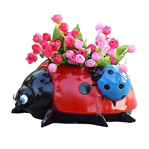 Vaso da fiori in metallo, decorazione a coccinella, in ceramica, per giardino, per schizzi, simulazione di animali, coccinelle, fiori, vaso da giardino, yard e prato (15 x 10 x 5 cm)