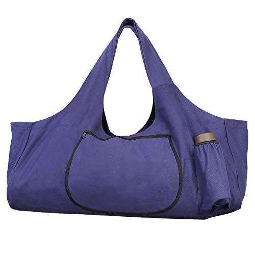 TENDYCOCO Sac pour Tapis de Yoga Grand Tapis de Yoga fourre-Tout avec sacoches avec Poches latérales et Fermetures à glissière - Violet