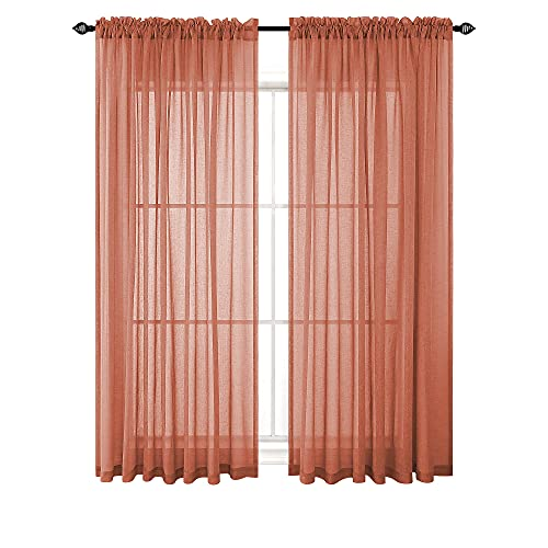 Terracotta Curtains 63 Inch Length for Bedroom 2 Panels Set Faux Linen Semi Sheer Draperies Rust Red Home Decor Rustic Boho Curtains for Living Room Burnt Orange