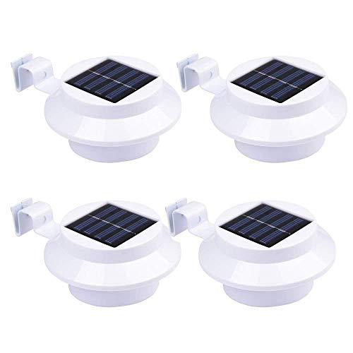 4 Stück Warmweiß Solarlampe Gartenlampe Außenlampe Solarleuchte Zaun Wandleuchte Wandlampe Solarleuchten für den garten,Haus, Zaun,Garage und Gehweg Beleuchtung 800mAh AA Ni-MH(Weiß )