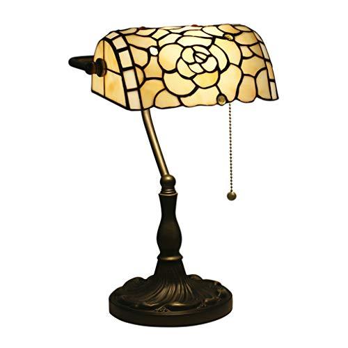 LANMOU Lámpara de Mesa Tiffany Lámpara de Banqueros Tradicional Lámpara de Noche de Dormitorio Luz de Sala de Estar con Pantalla de Vitrales, Interruptor de Línea de Tracción