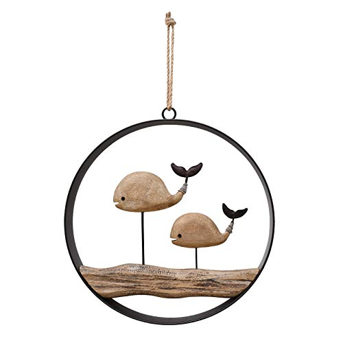 K KILIPES Wood Whale Wall Hanging Ornament Nautical Decor, Rustic Wooden Whale Wall Decor Hanging Circle Ocean Farmhouse Home Decor for Wall and Door, 10x9.75inches