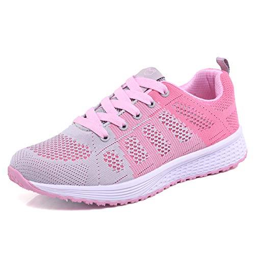 Youecci Zapatillas de Deportivos de Running para Mujer Deportivo de Exterior Interior Gimnasia Ligero Sneakers Fitness Atlético Caminar Zapatos Transpirable Rosa 35 EU