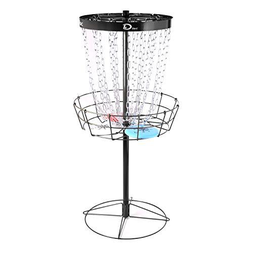 Disc Golf Basket Target Include 3 Discs, 24-Chain Portable Frisbee Golf Basket,Metal Golf Goals Baskets,Black