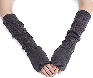 TDwear Fingerless Long Stretchy Arm Warmers Winter Sleeves, Gray
