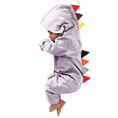 LEXUPE Baby Kinder Dinosaurier Strampler, Junge Mädchen Walkoverall Reißverschluss Kleidung Warme süße Nachtwäsche Pyjamas Herbst Winter Sets Hoodie Baby Kleidung Baby Schlafanzug(D-Grau,6M
