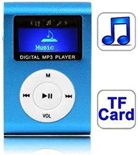 Digital Media Players TF (Micro SD) Card Slot MP3 Player with LCD Screen, Metal Clip(Magenta) (Color : Baby Blue)