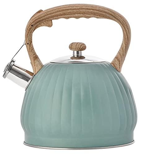Hervidor de agua de acero inoxidable, estilo retro, con asa antiquemaduras, para cocinas de inducción, estufa de radiación, eléctrica, cocina de gas (azul)