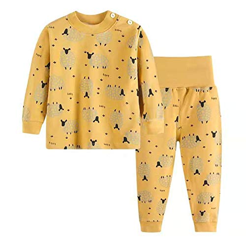 Pijamas de Manga Larga para Niños, Morbuy Pijamas Dos Piezas Bebe Niño y Niña Otoño Suave Y Cómoda Ropa 100% Algodón Ceñido Mantener Caliente Camisa + Pantalón (80cm,Oveja Amarilla)