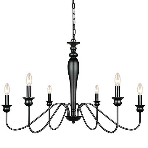 Derksic 6-Light Farmhouse Chandelier Black Iron Chandeliers Rustic Industrial Candle Chandelier for Dining Room Living Room Kitchen Bedroom Foyer Barn