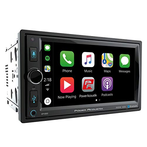 """POWER ACOUSTIK CP-650 Double DIN Bluetooth in-Dash Digital Media Car Stereo Receiver with Touchscreen, Apple CarPlay, 6.5"""""""