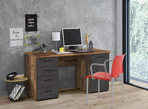 Schreibtisch Bürotisch Computertisch Arbeitstisch Laptoptisch Bürmöbel Balu I Old Wood Vintage/Betonoptik Dunkelgrau