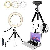 OXENDURE Anillo de Luz, Aro de Luz Trípode de Escritorio, Luz Videoconferencia con 3 Colores y 10 Brillos, para Ordenador Portátil, Reunión de Zoom, Selfie, Maquillaje