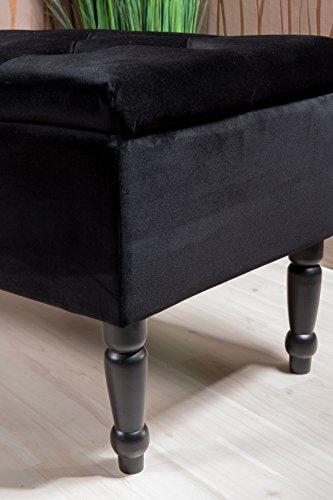 Sitztruhe schwarz mit Beinen, Fichten- und Birkenholz, 80cm - 4