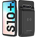 NEWDERY Upgraded Galaxy S10 Plus Battery Case Qi Wireless Charging Compatible, 10000mAh Rechargeable Extended Charger Case Compatible Samsung Galaxy S10+ Plus (Black)