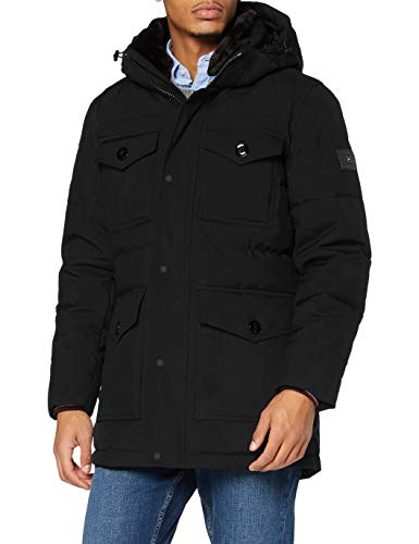 Tommy Hilfiger Herren Removable Fur Hooded Parka Jacke, Black, L