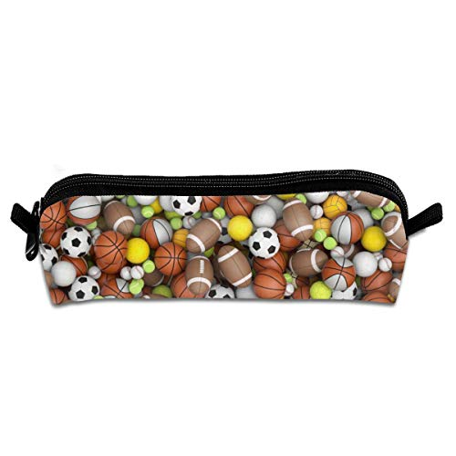 Sport Balls On The Floor Student Pencil Pen Case Zipper Pouch Small Cosmetic Makeup Bag Coin Purse?For Kids Teens And Other School Supplies
