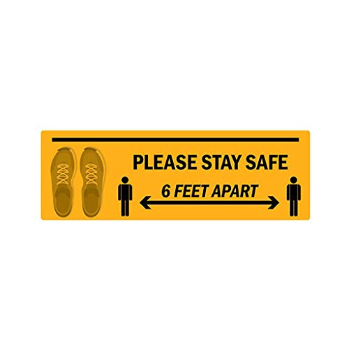 charmsamx 6 Feet Apart Safety Distance Sign, Please Stay Safe Public Distance Marker Self Adhesive Floor Decal Stickers for Store, Market, Bank, Hospital, Crowd Control Guidance 4 x 12 Inch Yellow
