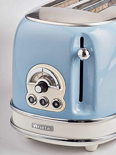 Ariete Vintage 155 Grille-Pain 2 Tranches, 810 Watts, 6 Niveaux de Grillage, en Acier Inoxydable Peint en Couleur Bleu Ciel Pastel, Sans Pince