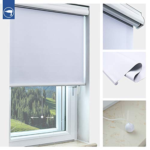 Atlaz Springrollo mit Aluminium-Kassette Verdunklungsrollo Schnurlos 120x210cm(BxH) Weiß Thermorollo zum Bohren Schnapprollo Rollos für Fenster