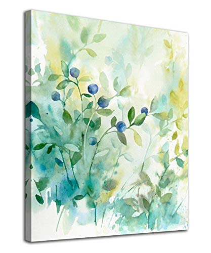 Botanical Wall Art Watercolor Green Leaf Canvas Picture Plants Light Colour Modern Artwork Contemporary Art Print Framed for Bathroom Bedroom Nursery Living Room Home Office Kitchen Wall Decor 12' x 16'