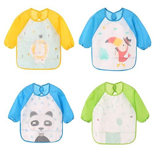 Yealoo 4er Pack Wasserdichte Doppel Stoff Ärmellätzchen Babylätzchen mit Klettverschluss Kinderlätzchen Kinder Schürze für Kinder 6-36 Monate (4er Pack A)