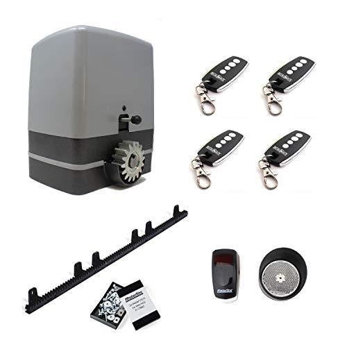 Kit completo motor puerta corredera CARRERA 800KG con 4 metros de cremallera de nylon con tornillos + 4 mandos a distancia TX4 + sensor de reflexión.