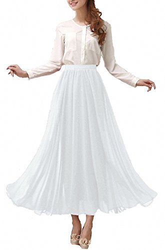 Afibi Womens Chiffon Retro Long Maxi Skirt Beach Ankle Length Skirt (Small, White)