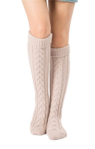 SherryDC Women's Cable Knit Long Boot Socks Over Knee High Winter Leg Warmers, Beige, One Size