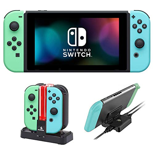 Nintendo 2020 Switch Family Christmas Holiday Bundle - Animal Crossing: New Horizons Edition + NexiGo_Joy-Con and Pro Controllers Charging Dock + Console Charging Station Bundle