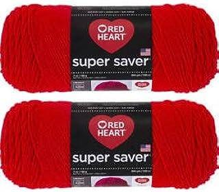 الشراء بالجملة: Red Heart Super Saver (2 حزمة) (أحمر فاقع، 198.4 جم لكل سكية)