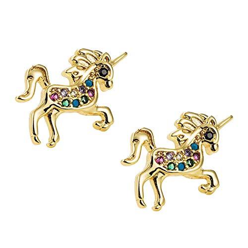 yotijar 1 par de pendientes colgantes con perno chapado en oro con forma de unicornio.