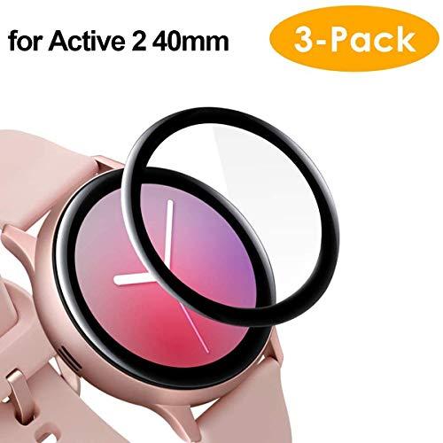 CAVN Kompatibel mit Samsung Galaxy Watch Active 2 40mm Schutzfolie [3-Stück], 3D Kante Bildschirmschutzfolie, Vollabdeckung, Anti-Kratzer Blasenfrei Panzerglas Schutzhülle Schutz (Nicht für Active 1)