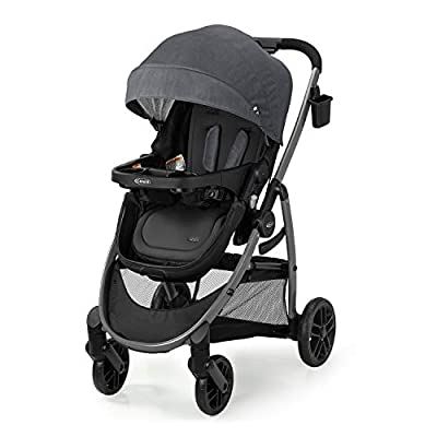 Graco Modes Pramette Stroller   Baby Stroller with True Bassinet Mode, Reversible Seat, One Hand Fold, Extra Storage, Child Tray, Redmond, Amazon Exclusive from Graco Children's Products