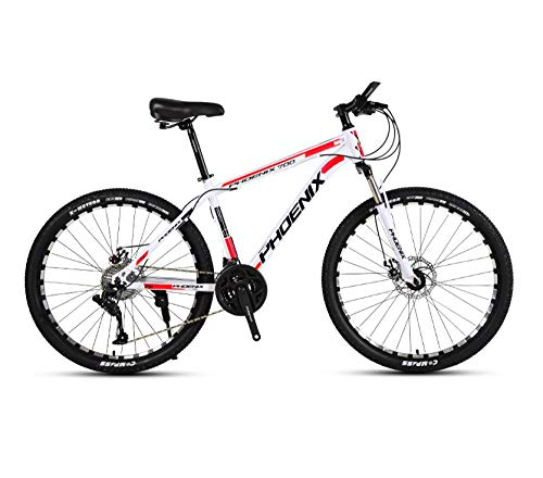 DGAGD 26' Variable Speed Bicycle Light Bicycle Spoke Wheel Type A-Blanco Rojo_27 velocidades