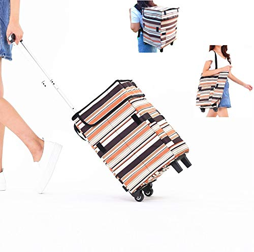 Shopping Trolley Grocery Bag with Wheels Backpack Straps - Fineget Folding Utility Cart Telescoping Handle for Women Travel Trip Vacations Camping Beach Play Picnic Laundry Luggage School Fashion