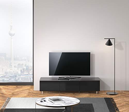SPECTRAL® Just-Racks Lowboard JRL1650T-BG_SL mit 2 Klappen, 1 Schublade, (B/H/T) 165.2x38×48cm, Kratzfeste Glasoberflächen: Farbe Black