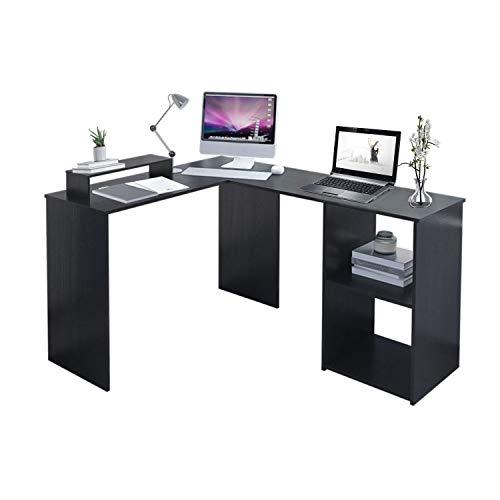Outwin Computer-Schreibtisch L-förmig Holz Eckarbeitsplatz PC Gamingtisch für Zuhause und Büro, Schwarz